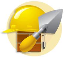 мастерок и строительная каска